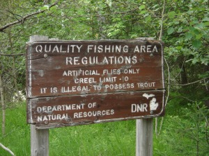 old fly fishing sign