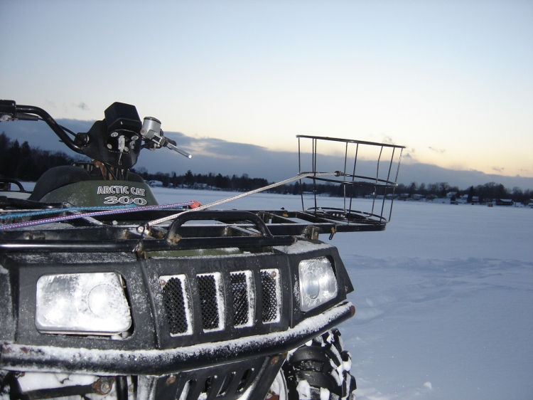 Arctic Cat ATV out ice fishing