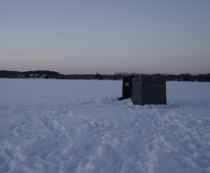 Ice Fishing Shanties on the lake