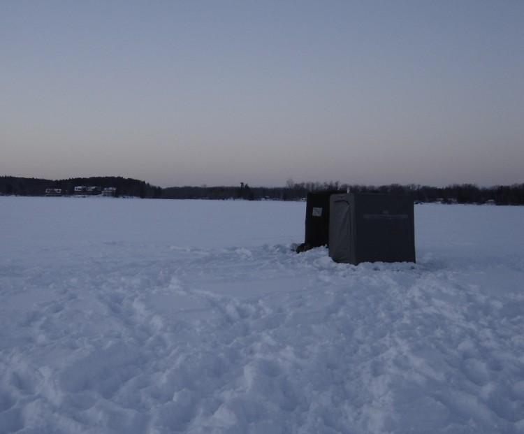 Ice Fishing Shanties on the lake