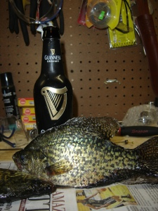 Crappie and a bottle of Guinness
