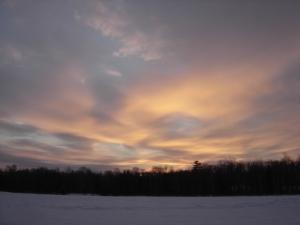 Ice fishing sunset
