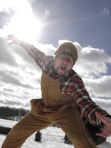 Ice fishing pose